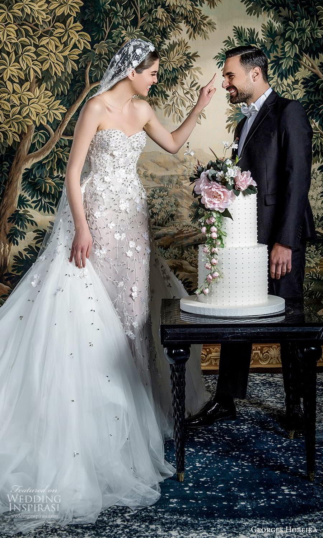 georges hobeika spring 2022 bridal strapless sweetheart neckline fully embellished sheath wedding dress a line overskirt (10) mv