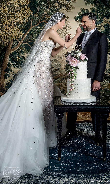 georges hobeika spring 2022 bridal strapless sweetheart neckline fully embellished sheath wedding dress a line overskirt (10) sv