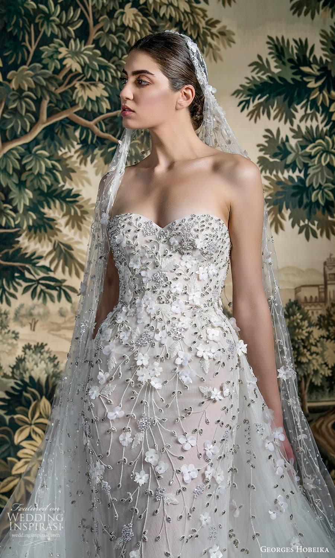 georges hobeika spring 2022 bridal strapless sweetheart neckline fully embellished sheath wedding dress a line overskirt (10) zv