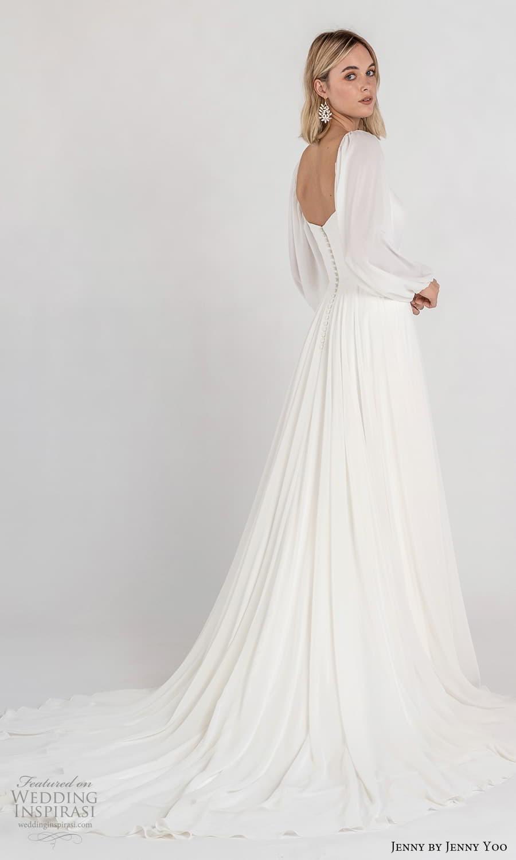 jenny jenny yoo fall 2021 bridal long baloon bishop sleeves square neckline clean minimalist a line wedding dress chapel train (7) bv
