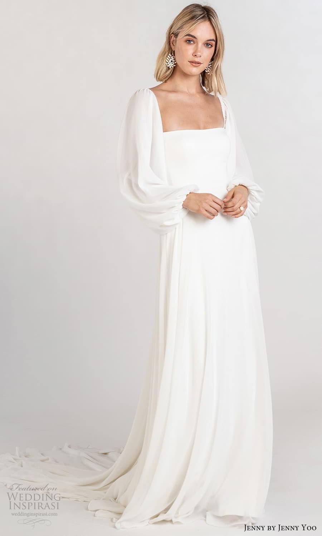 jenny jenny yoo fall 2021 bridal long baloon bishop sleeves square neckline clean minimalist a line wedding dress chapel train (7) fv