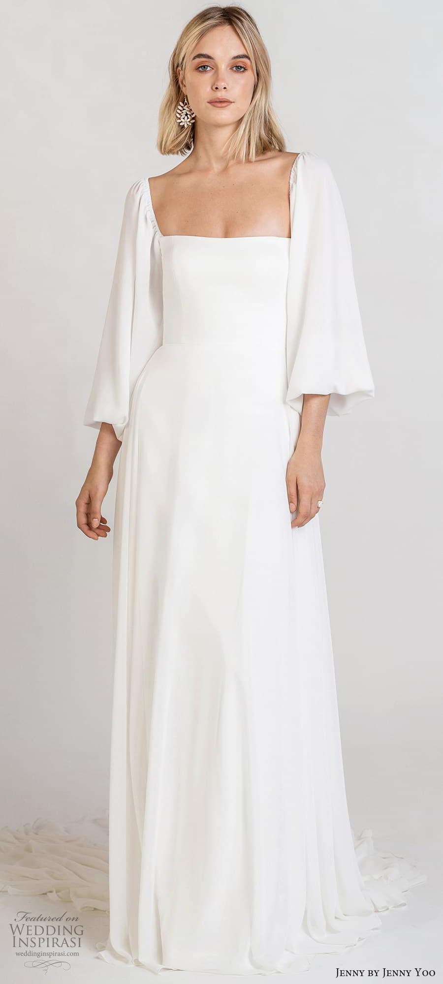 jenny jenny yoo fall 2021 bridal long baloon bishop sleeves square neckline clean minimalist a line wedding dress chapel train (7) lv