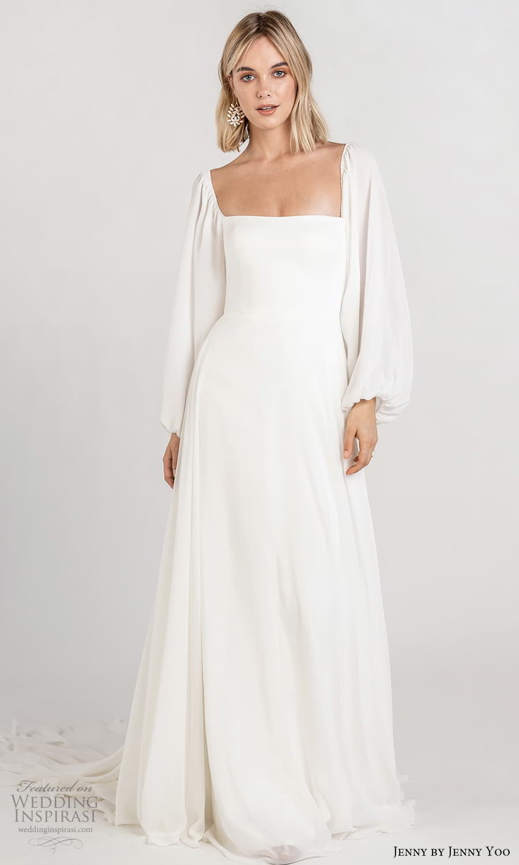 jenny jenny yoo fall 2021 bridal long baloon bishop sleeves square neckline clean minimalist a line wedding dress chapel train (7) mv