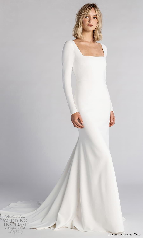 jenny jenny yoo fall 2021 bridal long sleeve square neckline clean minimalist sheath wedding dress chapel train (5) mv