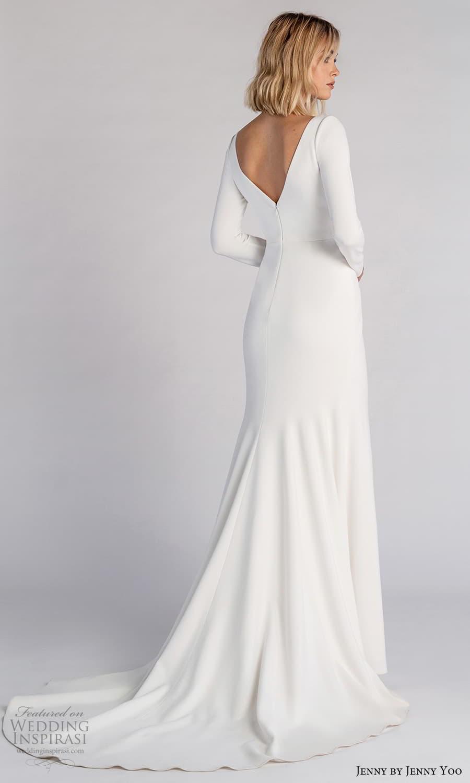 jenny jenny yoo fall 2021 bridal long sleeve square neckline clean minimalist sheath wedding dress chapel train v back (5) bv