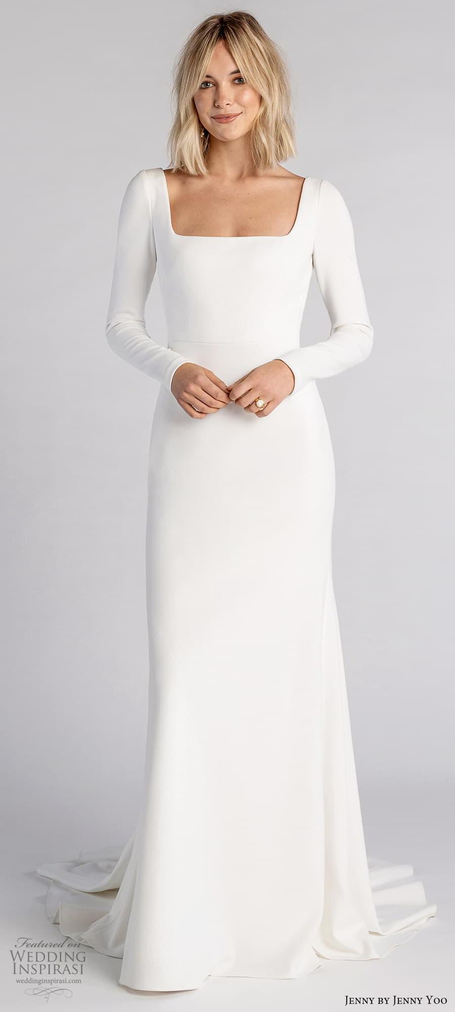 jenny jenny yoo fall 2021 bridal long sleeve square neckline clean minimalist sheath wedding dress chapel train v back (5) lv