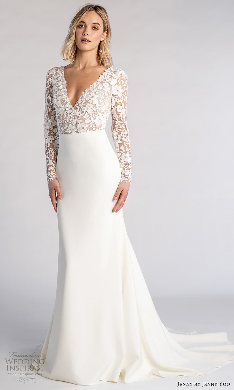 jenny jenny yoo fall 2021 bridal long sleeves v neckline embellished bodice clean skirt sheath wedding dress chapel train (4) mv