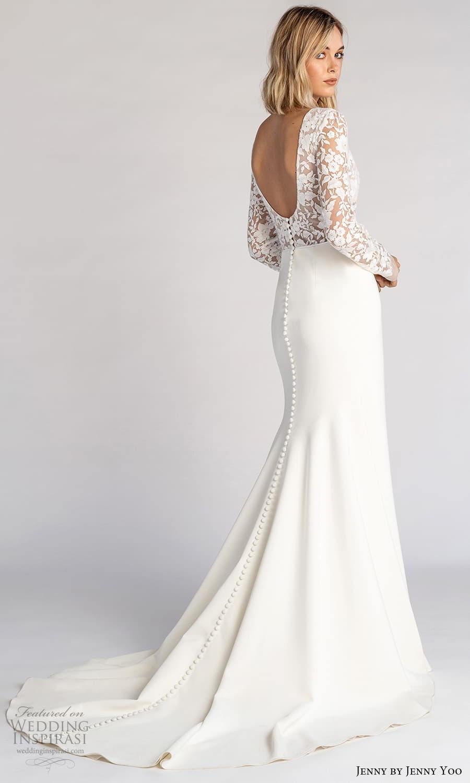 jenny jenny yoo fall 2021 bridal long sleeves v neckline embellished bodice clean skirt sheath wedding dress chapel train scoop back (4) bv