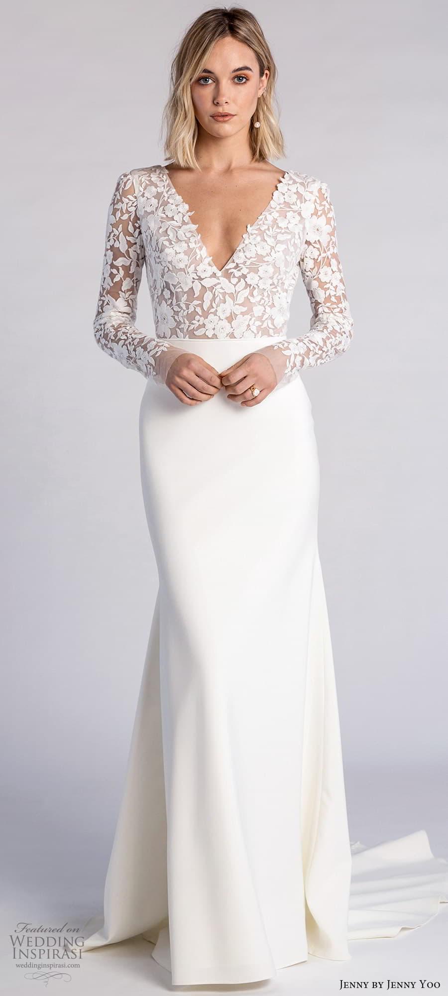 jenny jenny yoo fall 2021 bridal long sleeves v neckline embellished bodice clean skirt sheath wedding dress chapel train scoop back (4) lv