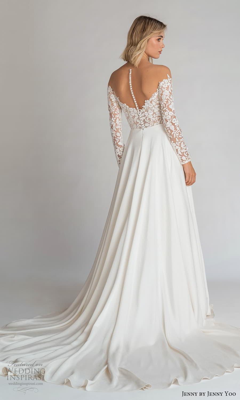 jenny jenny yoo fall 2021 bridal off shoulder long sleeve embellished bodice clean skirt a line wedding dress chapel train (1) bv