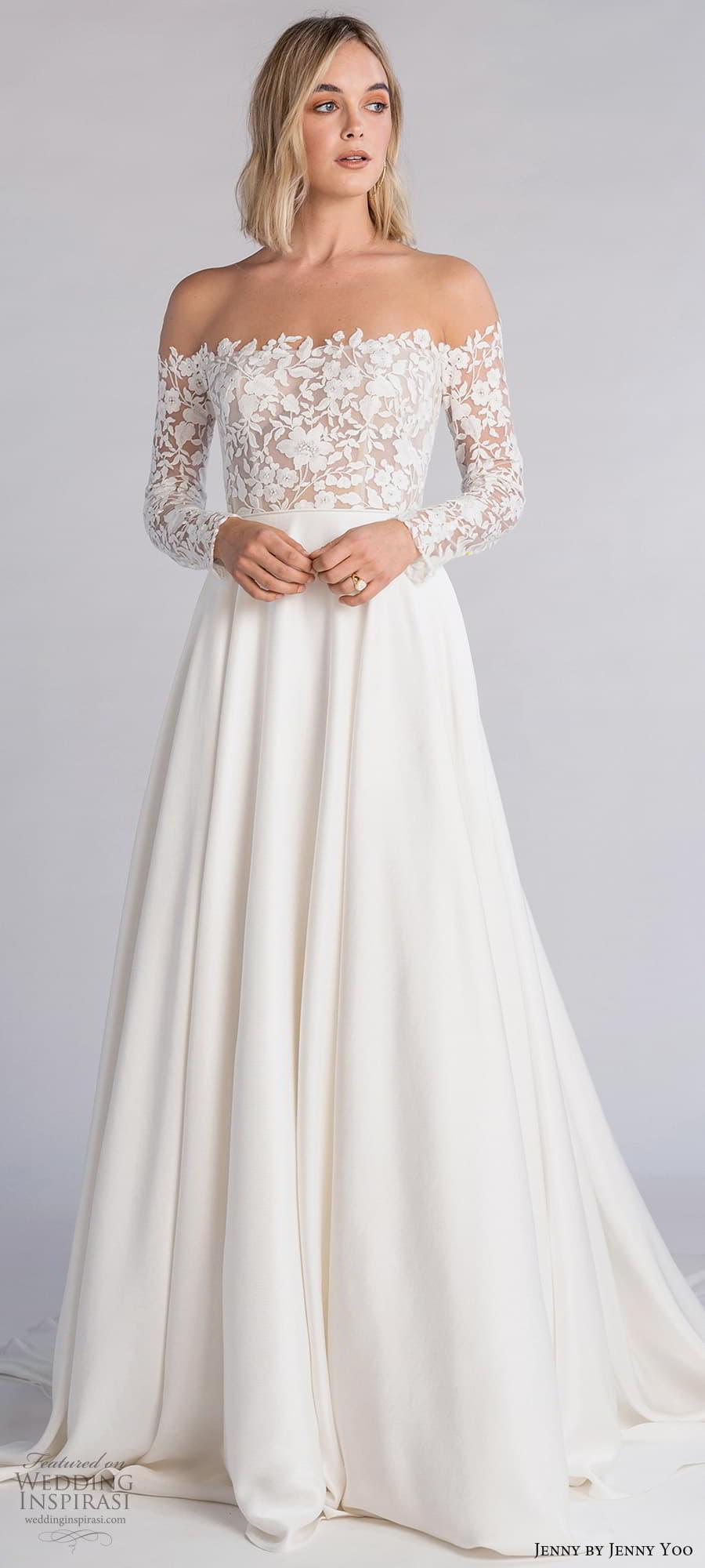 jenny jenny yoo fall 2021 bridal off shoulder long sleeve embellished bodice clean skirt a line wedding dress chapel train (1) lv