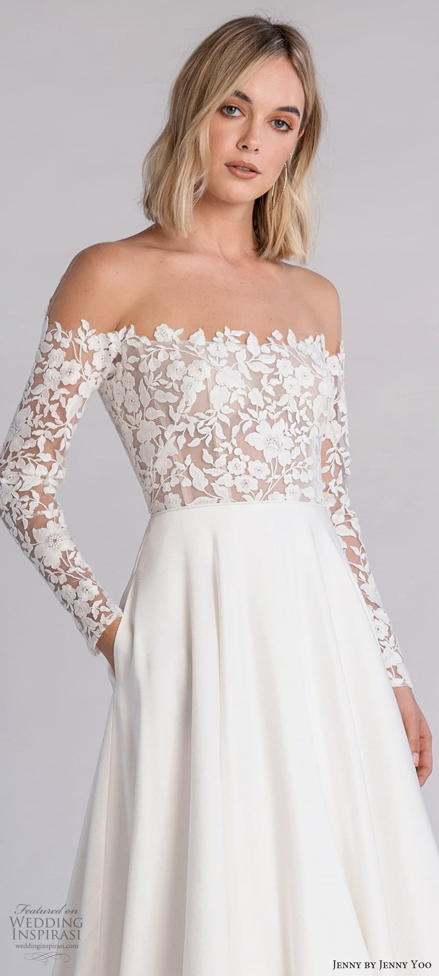 jenny jenny yoo fall 2021 bridal off shoulder long sleeve embellished bodice clean skirt a line wedding dress chapel train (1) zv