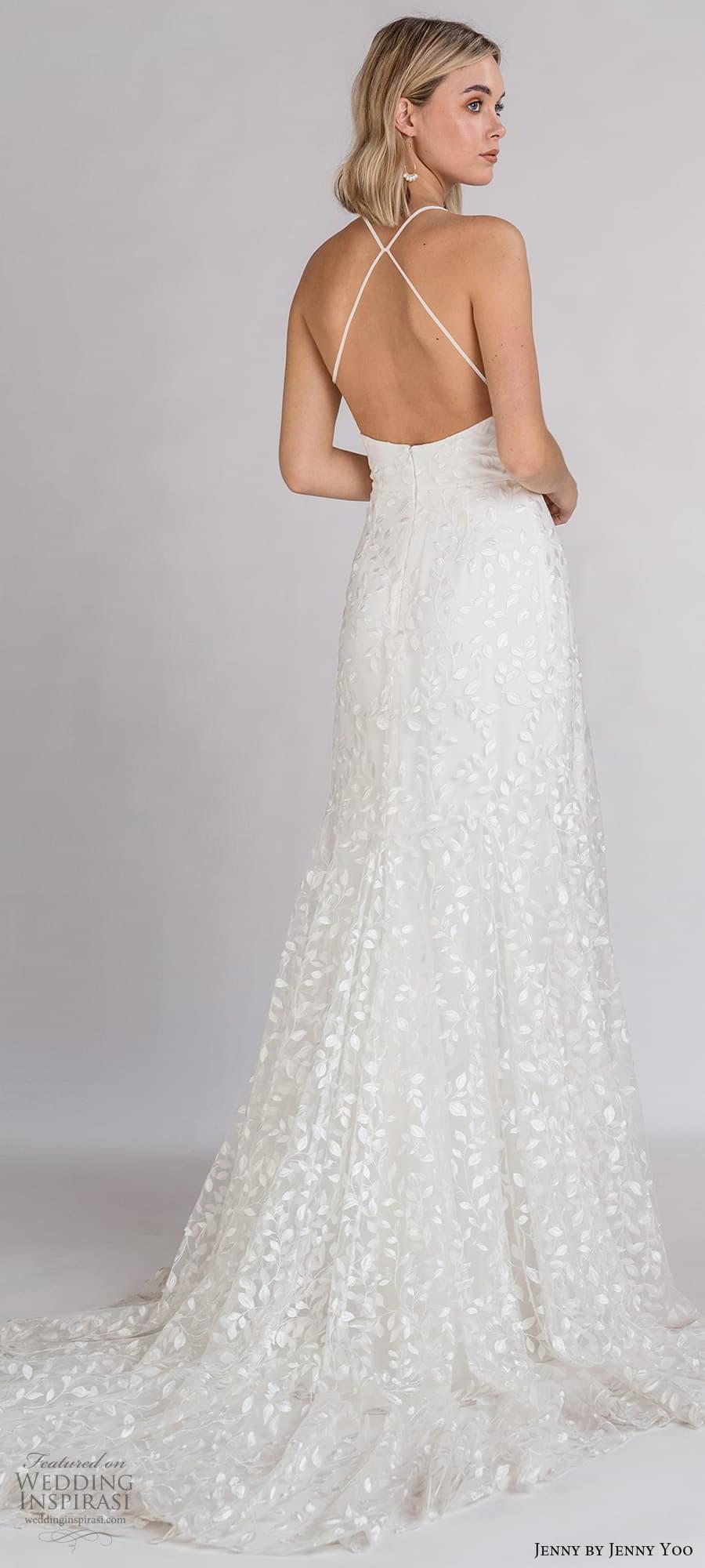 jenny jenny yoo fall 2021 bridal sleeveless cross straps plunging v neckline embellished a line wedding dress chapel train (3) bv