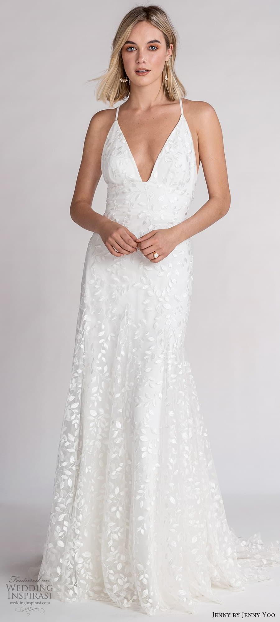 jenny jenny yoo fall 2021 bridal sleeveless cross straps plunging v neckline embellished a line wedding dress chapel train (3) lv