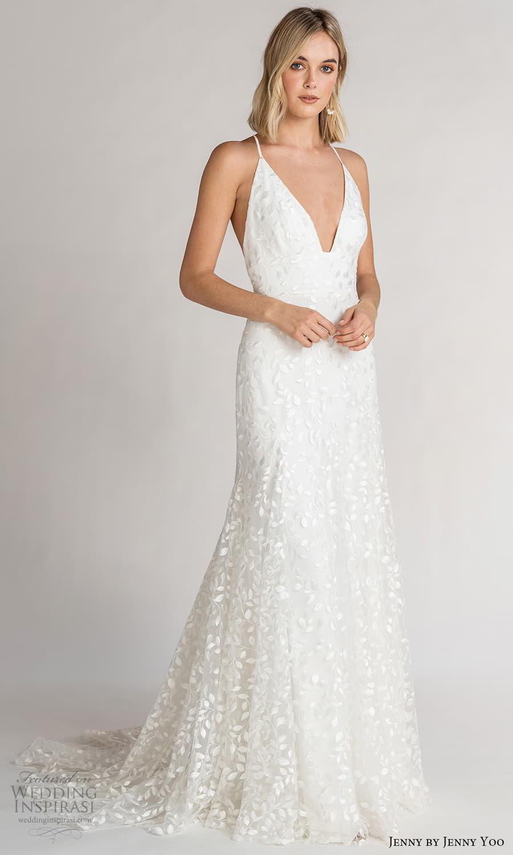 jenny jenny yoo fall 2021 bridal sleeveless cross straps plunging v neckline embellished a line wedding dress chapel train (3) mv