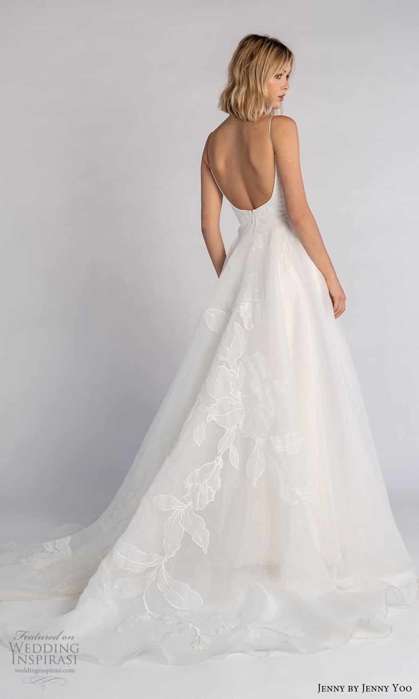 jenny jenny yoo fall 2021 bridal sleeveless straps semi scoop neckilne embellished a line wedding dress chapel train (2) bv