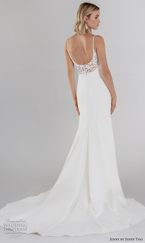 jenny jenny yoo fall 2021 bridal sleeveless straps semi scoop neckline clean minimalist sheath wedding dress chapel trian (6) bv