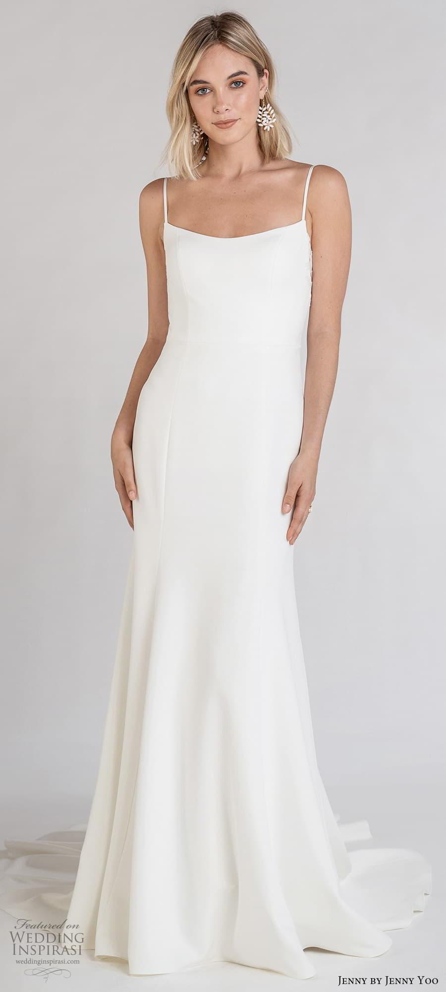jenny jenny yoo fall 2021 bridal sleeveless straps semi scoop neckline clean minimalist sheath wedding dress chapel trian (6) lv