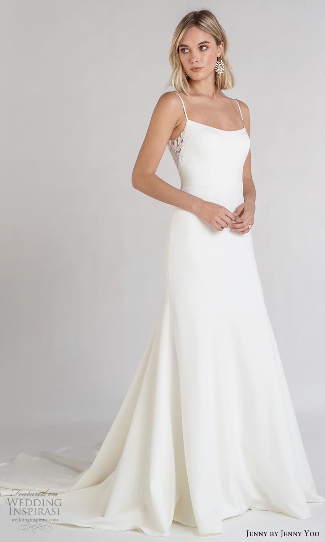 jenny jenny yoo fall 2021 bridal sleeveless straps semi scoop neckline clean minimalist sheath wedding dress chapel trian (6) mv