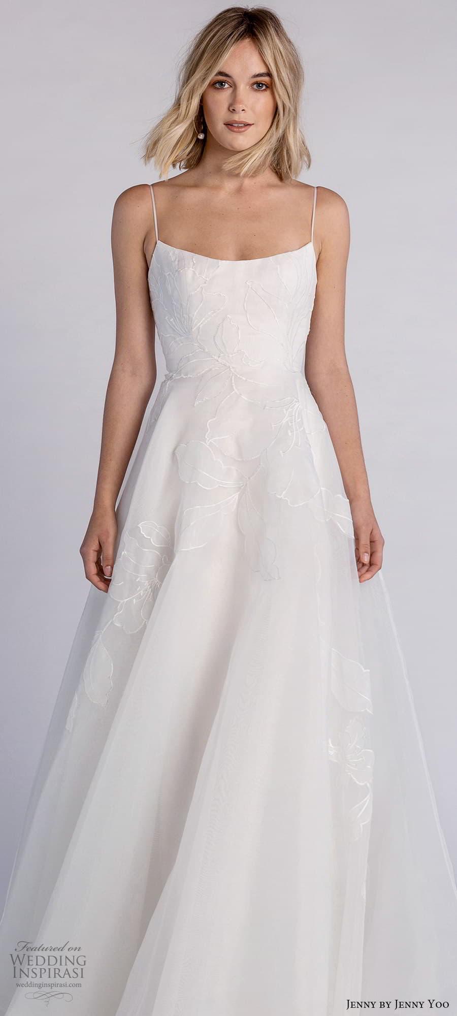jenny jenny yoo fall 2021 bridal sleeveless straps semi scoop neckline embellished a line wedding dress chapel train (2) lv