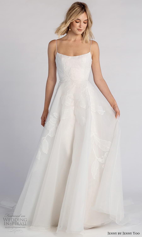 jenny jenny yoo fall 2021 bridal sleeveless straps semi scoop neckline embellished a line wedding dress chapel train (2) mv