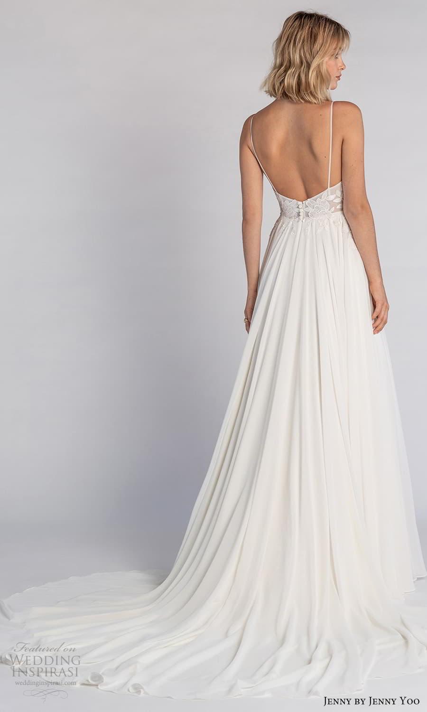 jenny jenny yoo fall 2021 bridal sleeveless straps v neckline embellished bodice a line wedding dress chapel train (8) bv