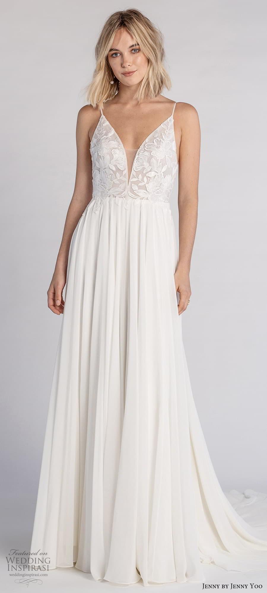 jenny jenny yoo fall 2021 bridal sleeveless straps v neckline embellished bodice a line wedding dress chapel train (8) lv