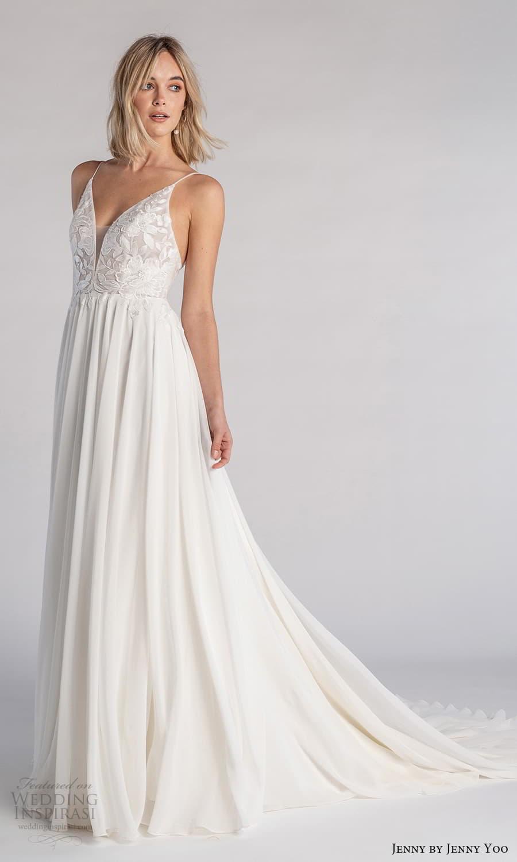 jenny jenny yoo fall 2021 bridal sleeveless straps v neckline embellished bodice a line wedding dress chapel train (8) mv