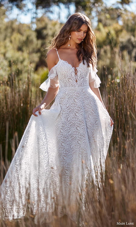 madi lane fall 2021 bridal cold shoulder flutter sleeve straps plunging sweetheart neckline fully embellished a line wedding dress chapel train (13) mv
