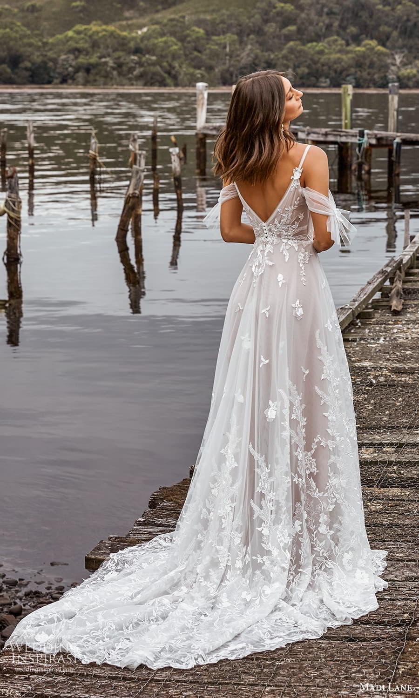madi lane fall 2021 bridal cold shoulder straps v neckline embellished bodice a line ball gown wedding dress chapel train (21) bv