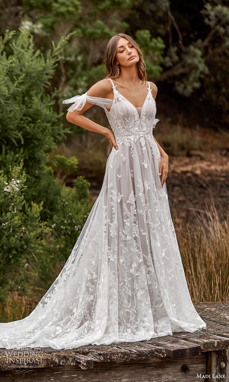madi lane fall 2021 bridal cold shoulder straps v neckline embellished bodice a line ball gown wedding dress chapel train (21) mv