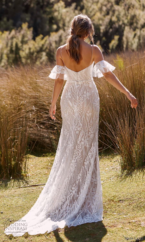 madi lane fall 2021 bridal detached short flare sleeves thin straps plunging sweetheart neckline fully embellished sheath wedding dress chapel train (12) bv