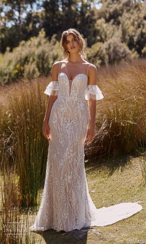 madi lane fall 2021 bridal detached short flare sleeves thin straps plunging sweetheart neckline fully embellished sheath wedding dress chapel train (12) mv