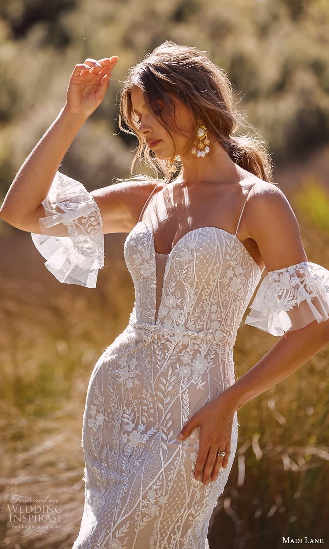 madi lane fall 2021 bridal detached short flare sleeves thin straps plunging sweetheart neckline fully embellished sheath wedding dress chapel train (12) zv