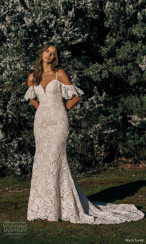 madi lane fall 2021 bridal flutter sleeve cold shoulder straps sweetheart neckline fully embellished sheath wedding dress chapel train (15) mv