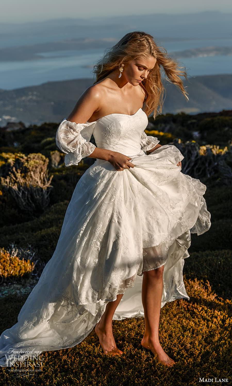 madi lane fall 2021 bridal off shoulder puff sleeves sweetheart neckline embellished a line ball gown wedding dress chapel train (22) mv