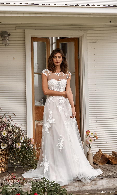 madi lane fall 2021 bridal sheer cap sleeve top strapless sweetheart neckline embellished a line ball gown wedding dress chapel train (19) mv