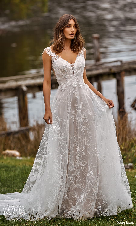 madi lane fall 2021 bridal sheer cap sleeve v neckline embellished a line ball gown wedding dress chapel train (4) mv