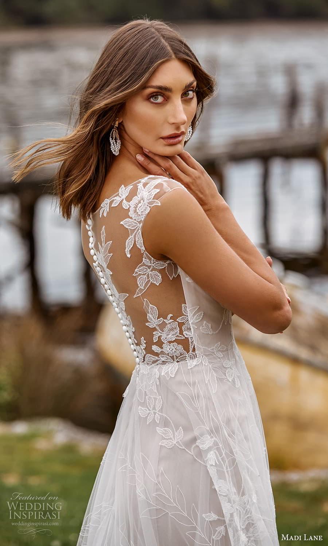 madi lane fall 2021 bridal sheer cap sleeve v neckline embellished a line ball gown wedding dress chapel train (4) zbv