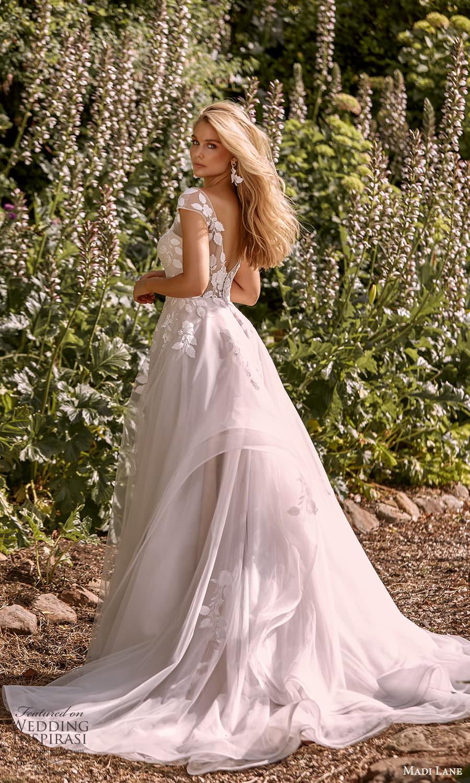 madi lane fall 2021 bridal sheer cap sleeves v neckline embellished a line ball gown wedding dress chapel train (8) bv