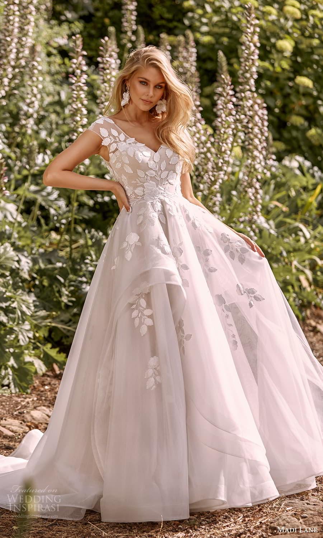 madi lane fall 2021 bridal sheer cap sleeves v neckline embellished a line ball gown wedding dress chapel train (8) mv