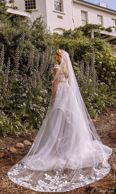 madi lane fall 2021 bridal sheer cap sleeves v neckline embellished a line ball gown wedding dress chapel train veil (8) bv