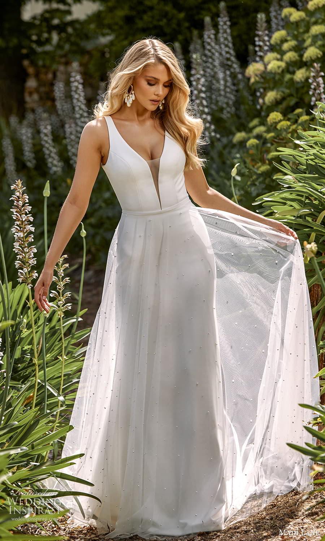 madi lane fall 2021 bridal sleeveless straps plunging v neckline clean minimalist sheath wedding dress sheer a line overskirt sweep train (3) mv