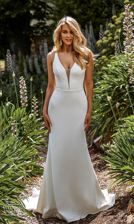madi lane fall 2021 bridal sleeveless straps plunging v neckline clean minimalist sheath wedding dress sweep train (3) mv