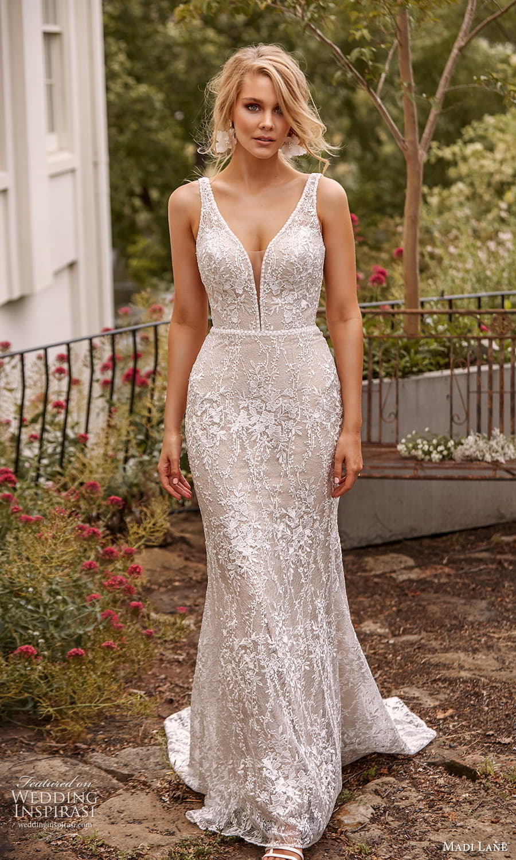 madi lane fall 2021 bridal sleeveless straps plunging v neckline embellished sheath wedding dress chapel train (9) mv