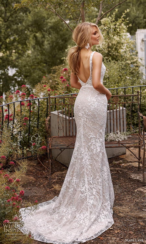 madi lane fall 2021 bridal sleeveless straps plunging v neckline embellished sheath wedding dress chapel train scoop back (9) bv