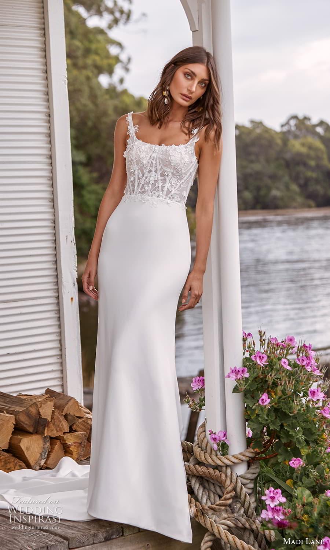 madi lane fall 2021 bridal sleeveless straps scoop neckline embellished bodice clean skirt sheath wedding dress chapel train (11 ) mv