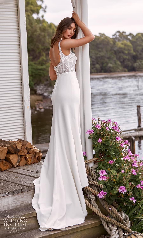 madi lane fall 2021 bridal sleeveless straps scoop neckline embellished bodice clean skirt sheath wedding dress chapel train scoop back (11 ) bv