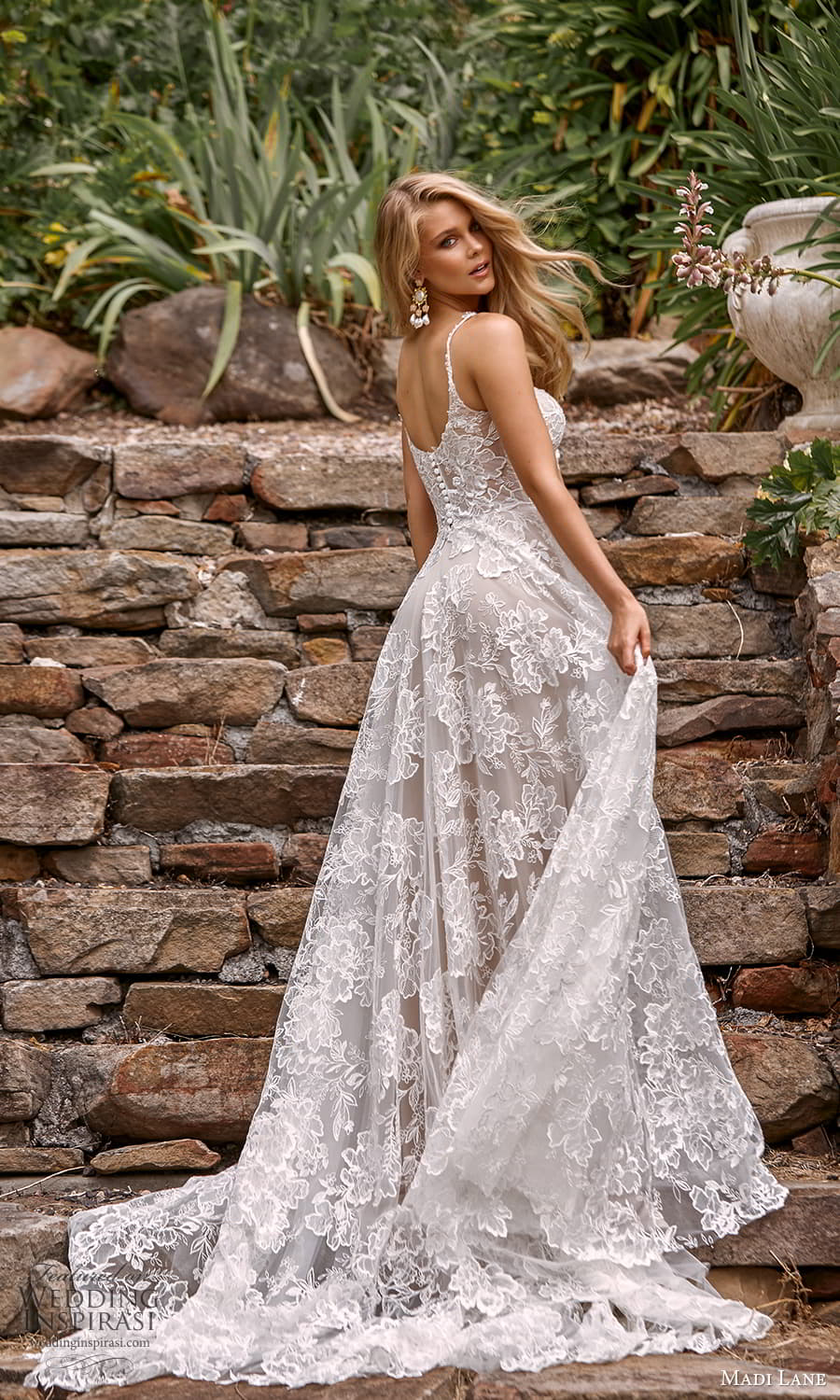madi lane fall 2021 bridal sleeveless straps scoop neckline fully embellished lace a line ball gown wedding dress chapel train (7) bv