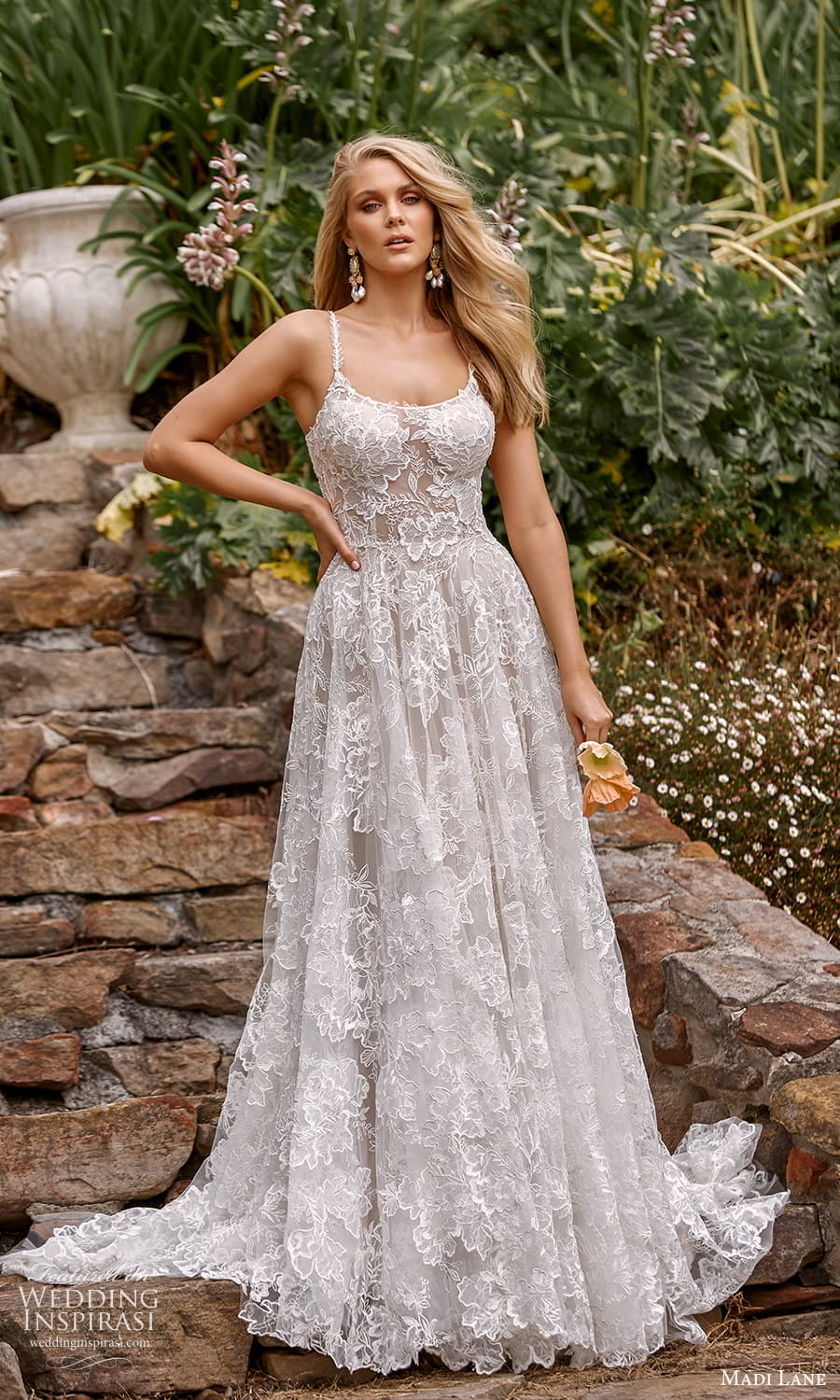 madi lane fall 2021 bridal sleeveless straps scoop neckline fully embellished lace a line ball gown wedding dress chapel train (7) mv
